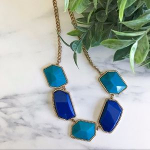Francesca's Teal + Royal Blue Statement Necklace